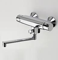 Термостатический смеситель для ванны и душа Oras Nova 7446X с эксцентриковыми соединителями сзатворами и розеткамиподключение горячей воды с левой