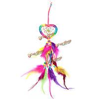 Ловец снов - в форме сердца с перьями на стену или украшение автомобиля вися орнаментом