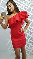 Женское оригинальное платье с воланом на одно плече (4 цвета)