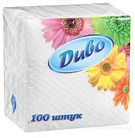 Салфетка бумажная Диво 33*33 100л белая