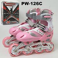 Ролики PW-126C (6шт) L(40-43)металл.рама,клипса,шнурок,колеса PU,ABEC-5,свет.колес