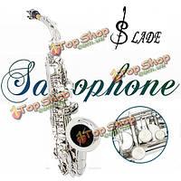 Обременял альт саксофон EB серебро саксофон краска серебро с случае с аксессуарами