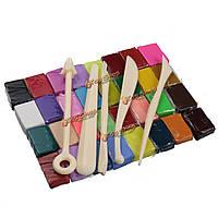 Полимерная глина fimo 32 цвета + инструменты для лепки