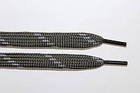 Шнурки плоские (чехол) 10мм.  т. серый+св. серый, фото 1