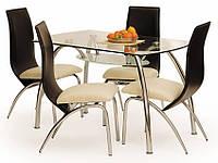 Прямоугольный кухонный стол Corwin Bis Halmar с прозрачной стеклянной столешницей