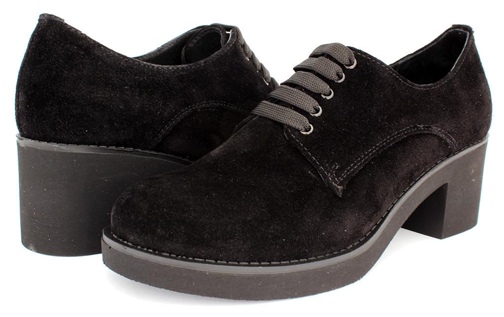 Стильные женские ботильоны замша черные на шнурках