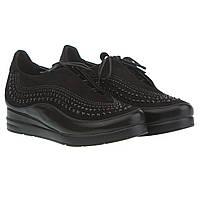 Женские туфли без каблука Summergirl (черные, с мелкими стразами, на шнурках, стильные)