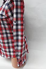 Женские рубашки в клетку оптом VSA белый-голубой-полос., фото 3