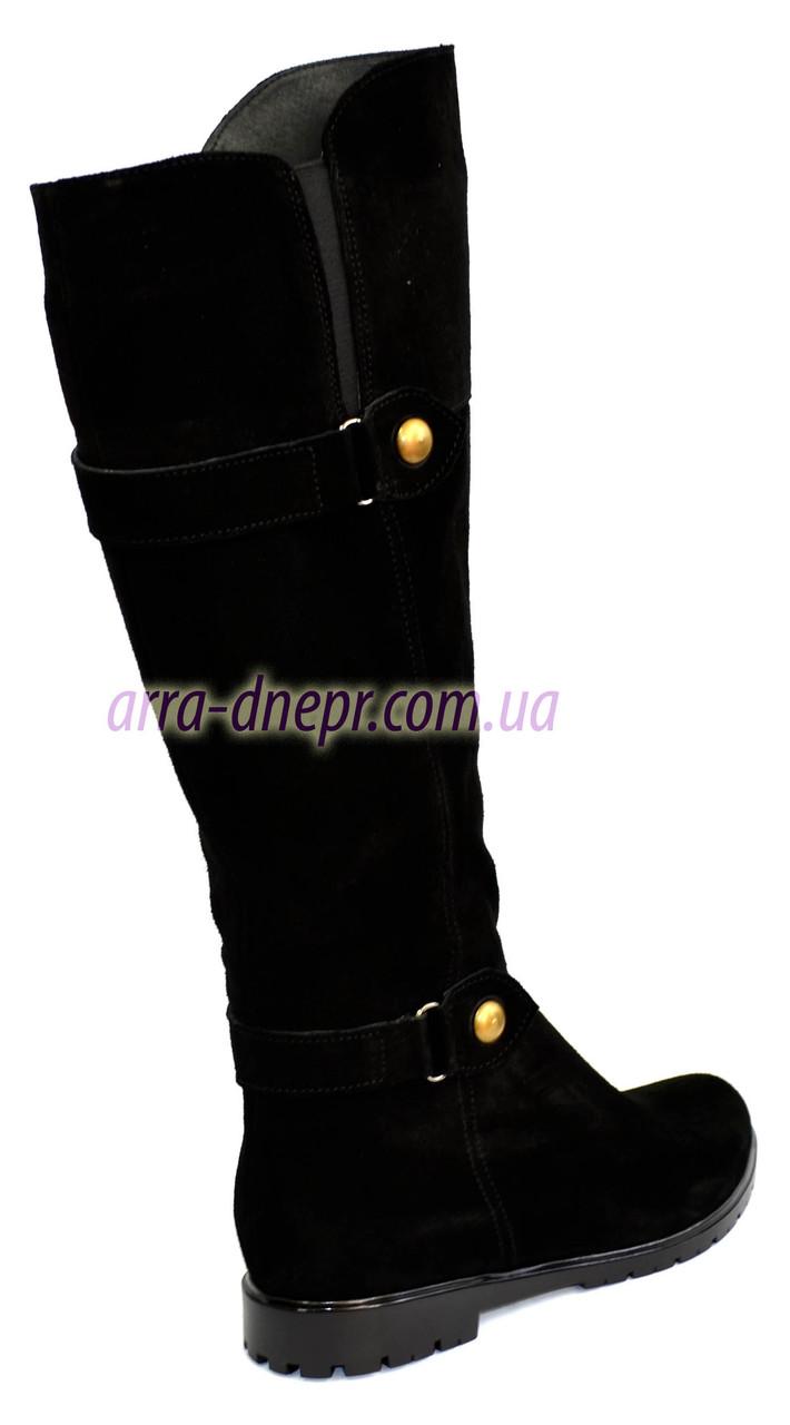 b823eab0 Замшевые черные женские сапоги на низком ходу от производителя ...