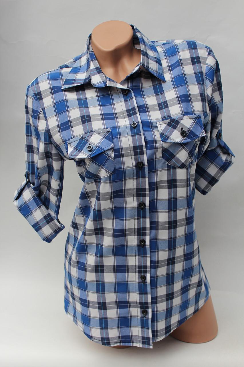 Женские рубашки в клетку оптом VSA белый-голубой-полос.