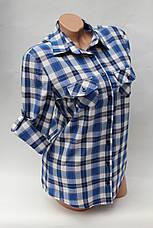Женские рубашки в клетку оптом VSA белый-голубой-полос., фото 2
