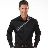 Стильная черная рубашка slim fit №130