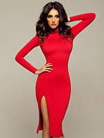 Женское  платье  миди с разрезом под горло красное