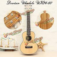 Deviser укулеле uk24-60 24-дюймов матовый четыре гитара ель панель