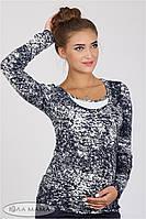 Облегающий лонгслив для беременных и кормящих Layma print, принт вареный джинс с молоком 1, фото 1