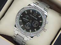 Серебристые женские кварцевые часы Michael Kors с рифленым браслетом