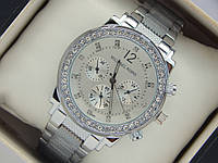 Женские наручные часы Michael Kors серебро с рифленым браслетом и стразами, фото 1