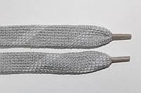 Шнурки плоские акрил (чехол) 15мм, св. серый+белый, фото 1