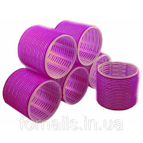 Бигуди липучки для волос Y.R.E. 66 мм, фиолетовые 6 шт