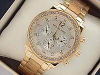 Золотистые женские часы Michael Kors с рифленым браслетом