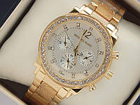 Золотистые женские часы копия Michael Kors с рифленым браслетом, фото 1