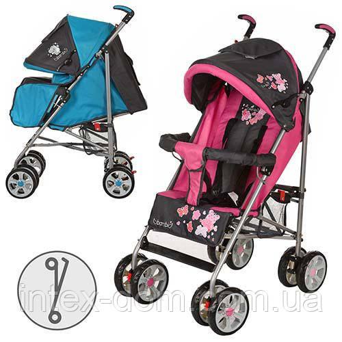 Детская коляска-трость BAMBI M 2105-1P (Розовая) с футкавером
