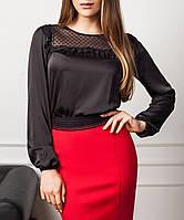"""Нарядная черная блуза """"Эрис"""" из шелковой ткани"""