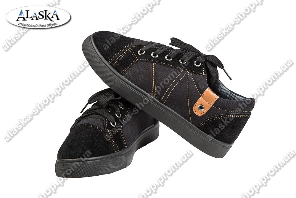 Подростковые кеды черные (Код: VS-719-АС)