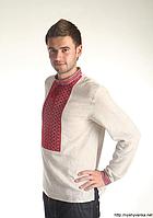 Чол. сорочка, нашивка ткана, напівльон сірий, 54