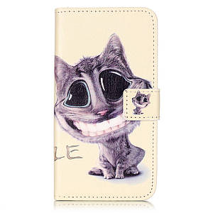 Чехол книжка для Lenovo A6020 Vibe K5 Plus боковой с отсеком для визиток, Веселый котик