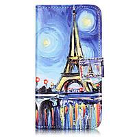 Чехол книжка для Lenovo A6020 Vibe K5 Plus боковой с отсеком для визиток, Эйфелева башня красками