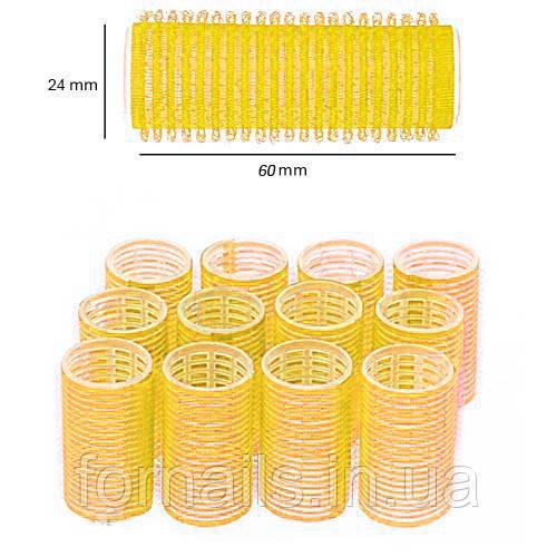 Бигуди липучки для волос Y.R.E. 24 мм, желтые 12 шт