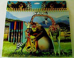 """Набір д/творчості MD3608 альбом 60арк+флом(10шт)+накл """"Мадагаскар"""""""