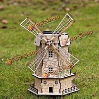 Сделай сам 3д пазл модель солнечной деревянные Голландии ветряная мельница игрушка