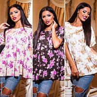 Модная женская блузка принт цветы / Украина / жаккард