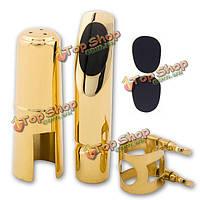 Альт-саксофон саксофон мундштук 5 6 7 8 металлическая с колпачком и лигатурой золотым покрытием