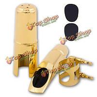 Тенор саксофон саксофон мундштук 5 6 7 8 металлическая с колпачком и лигатурой золотым покрытием