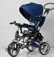 Велосипед 3-х колес TR16007 синий складной козырек, колеса EVA 12'' и 10''