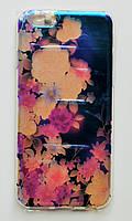Чехол-накладка Силикон под углом Блестит Полупрозрачный для Apple iPhone 6/6s Цветы