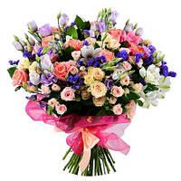 Микс-букет из роз эустомы и мелких цветочков