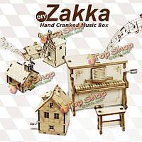 ZAKKA DIY из дерева собраны вручную коленчатый музыкальную шкатулку