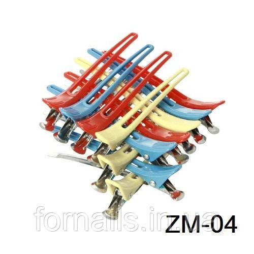 Зажим комбинированый цветн. для волос 12 шт ZM-04