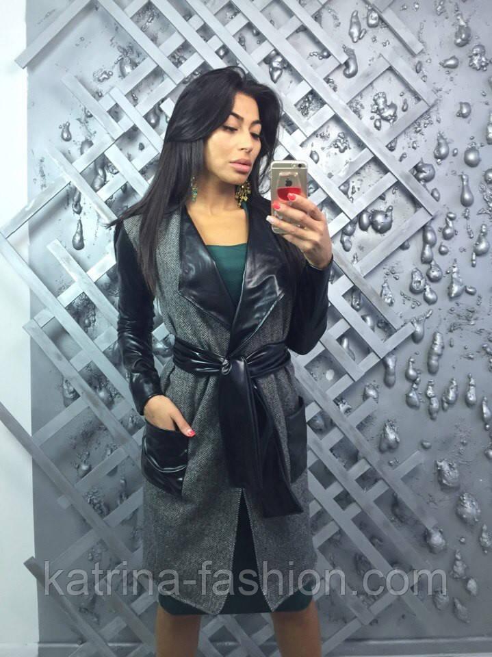 Женкий стильный кардиган с поясом и вставками эко-кожи