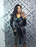 Женкий стильный кардиган с поясом и вставками эко-кожи, фото 2