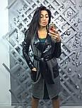 Женкий стильный кардиган с поясом и вставками эко-кожи, фото 3