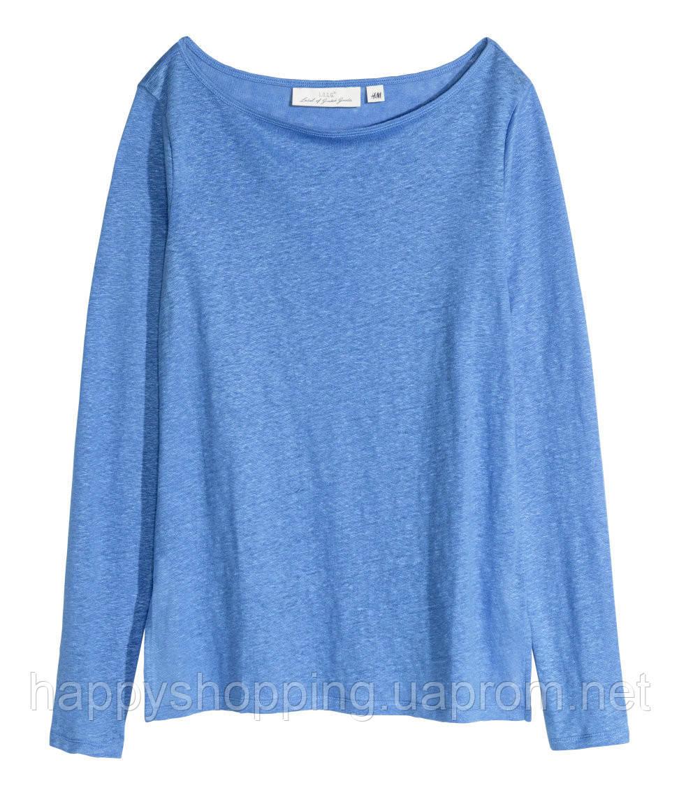 Голубая льняная кофта H&M
