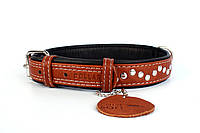 Ошейник Collar Soft c металлическими украшениями коричневый верх, фото 1