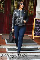 Женская короткая куртка на змейке большого размера черная, фото 1