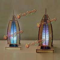 DIY 3D солнечной головоломки деревянные игрушки фосфоресцирующий Burj Al Arab Hotel