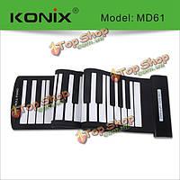 Konix USB для 61-клавишной MIDI гибкого силикона электронный закатать фортепиано помощью md61